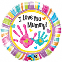 "Love Mummy Handprints Foil Balloon (18"") 1pc"